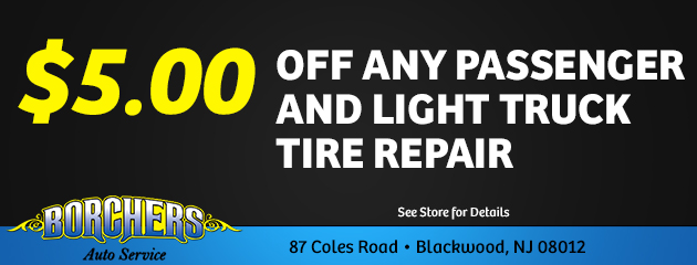 $5.00 off any passenger and Light Truck tire Repair