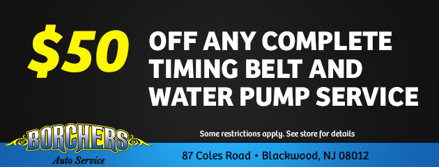$50.00 Off Any Complete Timing Belt and Water Pump Service