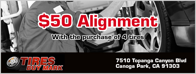 $50 Alignment with the purchase of 4 tires