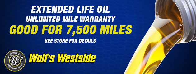 Extended Life Oil / Unlimited Mile Warranty, good for 7,500 miles!
