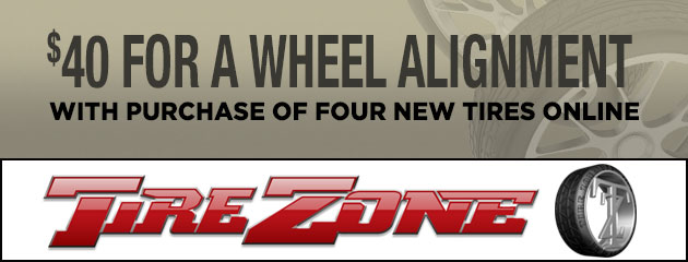 Online Special! $40 for a wheel alignment with purchase of four new tires online