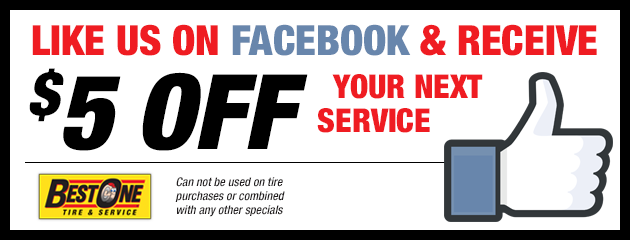Like Us on Facebook & receive $5 off your next service