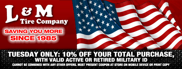 TUESDAY ONLY = 10% OFF your total purchase, with valid active or retired military ID
