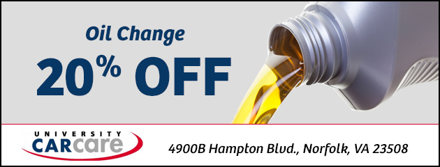 Oil change: 20% off