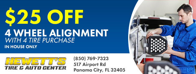 $25.00 off Four Wheel Alignment with 4 Tire Purchase.
