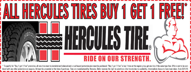 All Hercules Tires, Buy 1 Get 1 Free