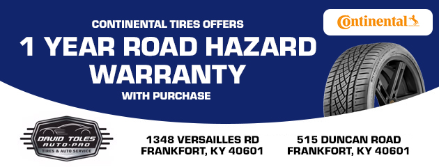 Continental Tires offers 1 year road hazard warranty with purchase