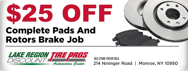 $25 off complete pads and rotors brake job