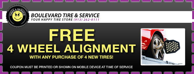 Free 4 Wheel Alignment with any purchase of 4 new tires!