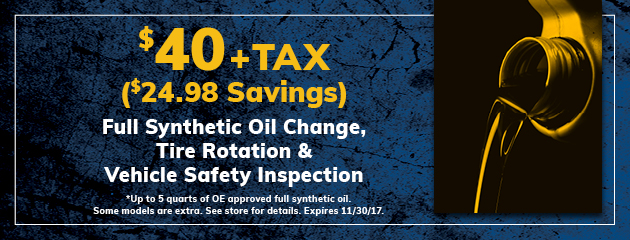 $40 Full Synthetic Oil Change