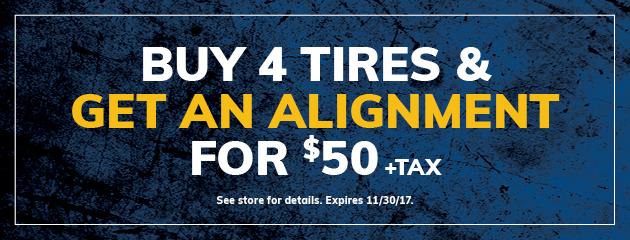 Buy Four Tires Get A $50 Alignment