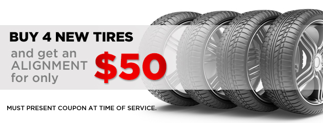 Buy 4 new tires and get alignment for only $50