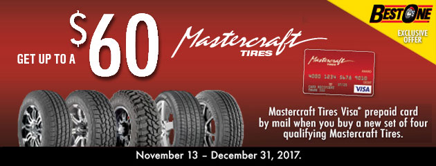 Get Up To $60 prepaid Visa card when you buy select Mastercraft tires.