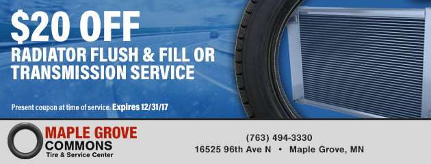 $20 Off Radiator Flush & Fill Or Transmission Service