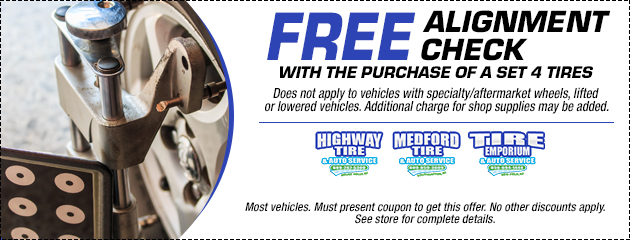 Free alignment check with the purchase of 4 tires