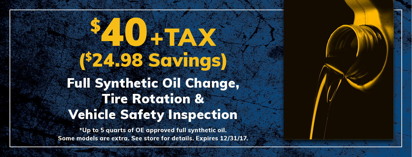 $40 Synthetic Oil Change Package