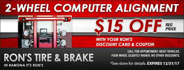 $15 Off 2-Wheel Alignment with Card