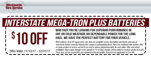 $10 Off Interstate Mega-Tron Plus Batteries