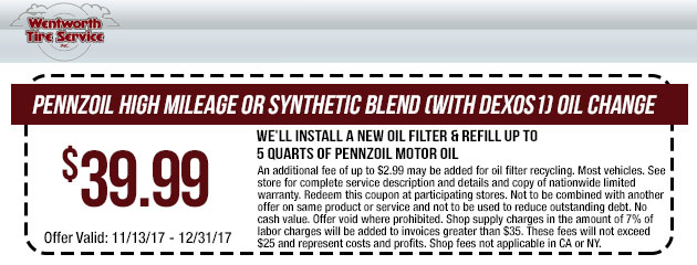 $39.99 On Select Pennzoil Oil change
