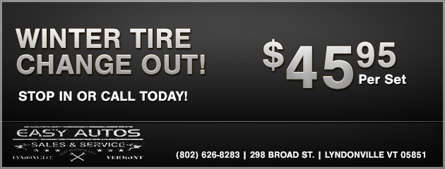 WINTER TIRE CHANGE OUT!  $49.95 per set.