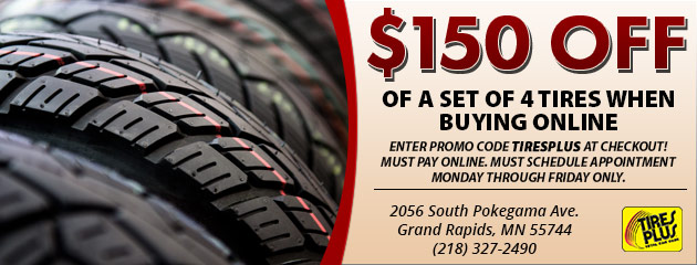 $150 Off of a set of 4 tires when buying online!