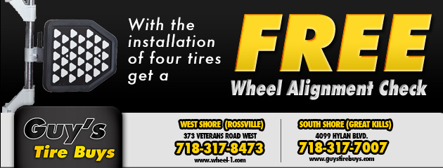 With the installation of four tires, get a free wheel alignment check