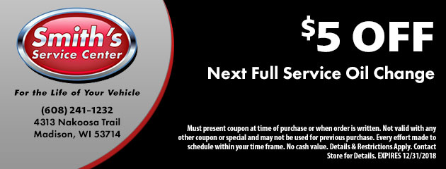 $5 Off Next Full Service Oil Change