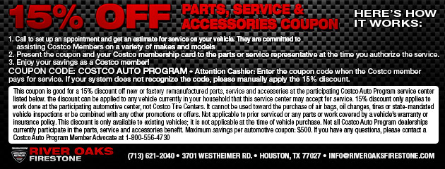 15% Off parts, service, and accessories with the Costco Auto Program