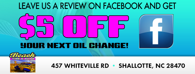 Leave us a review on Facebook and get $5 off your next oil change!
