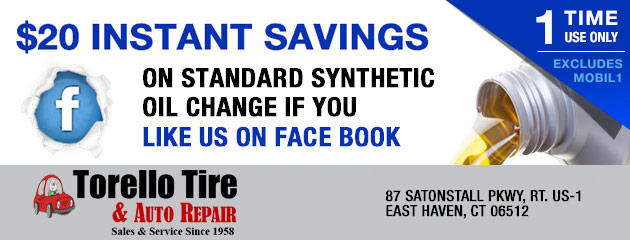 $20 instant savings on standard synthetic oil change if you like us on FB