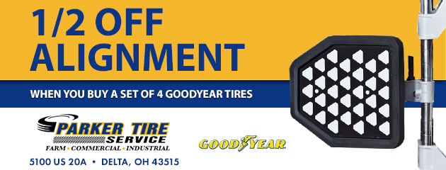 1/2 off alignment when you buy a set of 4 goodyear tires