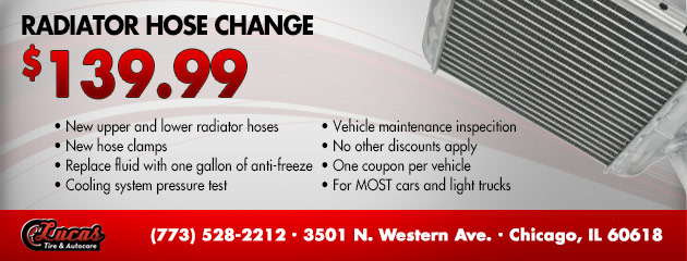 Radiator Hose Change - $139.99