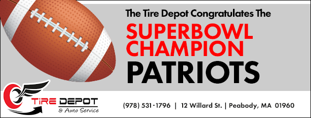 The Tire Depot congratulates the Superbowl Champion Patriots