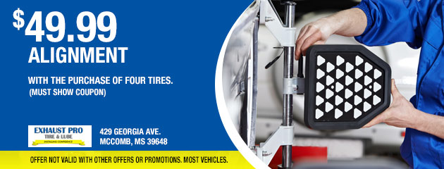 $49.99 alignment with the purchase of four tires.