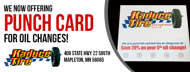 We now offering a punch card for oil changes!