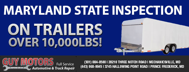 Maryland State Inspection on Trailers over 10,000lbs!