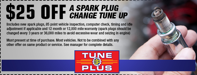 $25 off a spark plug change tune up