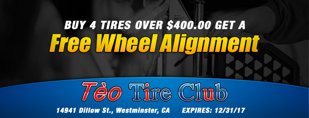 Buy 4 Tires Over $400.00, Get Free Wheel Alignment