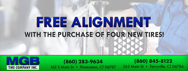 Free alignment with the purchase of four new tires!