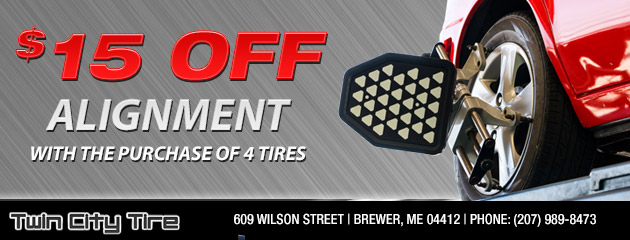 $15 off Alignment Coupon with the purchase of 4 tires