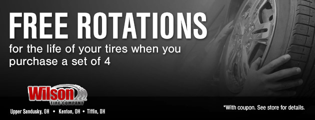 Free Rotations for the life of your tires when you purchase a set of 4