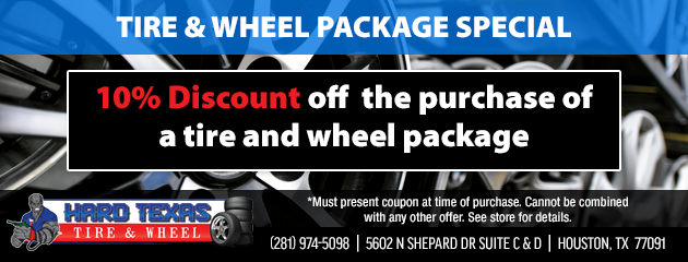 10% discount off the purchase of a tire and wheel package