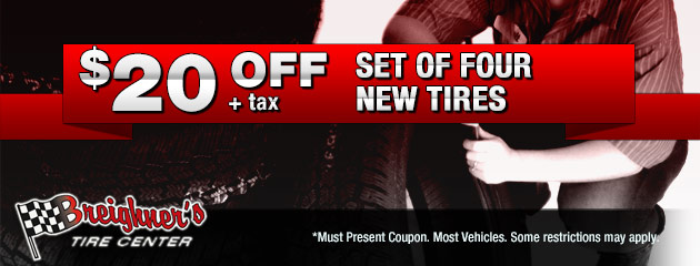 $20 off a set of four new tires