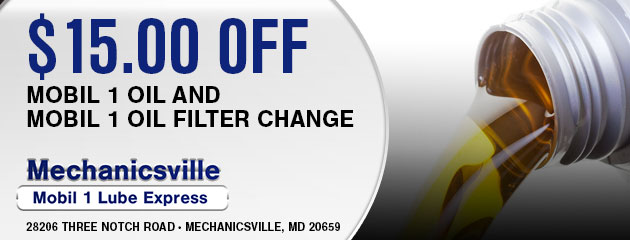 $15.00 off Mobil 1 oil and Mobil 1 oil filter change