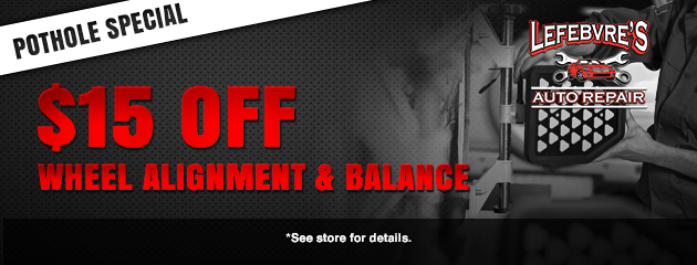 $15 Off Wheel Alignment and Balance