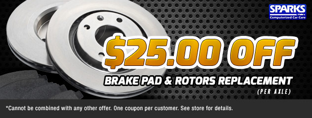 $25 Off Brake Pad & Rotor Replacement
