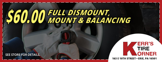 $60.00 Full Dismount, Mount and Balancing Coupon