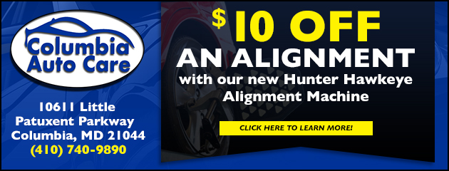 $10 off an Alignment with our new  Hunter Hawkeye Alignment Machine