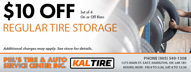 $10 Off Regular Tire Storage