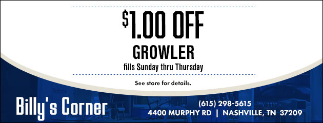 $1 off growler fills Sunday thru Thursday